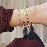 Fashion gold leaf bangle bracelet set for women wholesale N95282