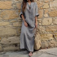 Womens Big size Maxi Dress 4XL 5XL large size Kaftan Long Sleeve 2018 Summer Striped Women Plus Size Long Cotton Linen Dress