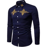 custom spring new high quality embroidered long sleeve men dress shirts