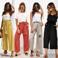 2019 Four-color straps wide-leg spring and summer casual trousers solid color cotton and linen holiday pants