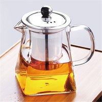 New design square shape pyrex glass teapot with handle