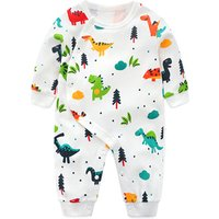 Newborn Clothing Baby Boy Girl Rompers Cartoon Dinosaur Print 100% Cotton Long Sleeve Infant pajamas