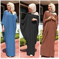 Casual Muslim  Abaya Bat Sleeve Maxi Dress Cardigan Loose Long Robe Gowns Ramadan Turkey Islamic Prayer Clothing Worship Service