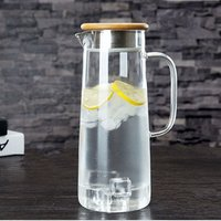 factory high borosilicate glass water jug with lid, cold water bottle with stainless steel lid