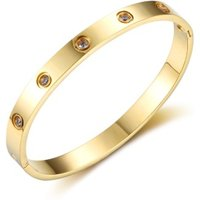 Online shopping Free Shipping Ladies Jewelry 18K Gold Plated Stainless Steel Love Cuff Bangle Bracelet With Diamond
