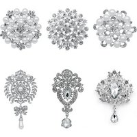 Lot of 6 PC Mixed DIY Wedding Bouquets Decorative Large Size Brooch Pins Set in Gold or Silver Colors