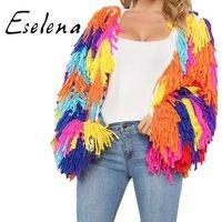 Sweater factory wholesale custom OEM women loose rainbow hand crochet plush tassel coat cardigan