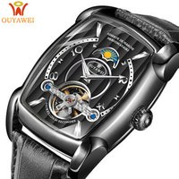 Luxury OUYAWEI 1818 Genuine Leather Black Strap Square Shape Tourbillon Automatic Mechanical Wrist Watch for Man