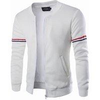 Mens Zipper Coat Two Color Blocked Lightweight Fleece Jacket