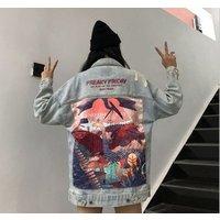 X88597B Korean Patch lady denim jacket women loose bf wind jackets