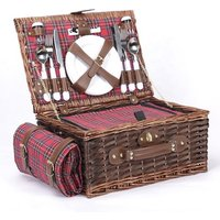 Customized Willow Picnic Basket Blanket Cooler Bag Included Wicker Picnic Basket Cutlery Set