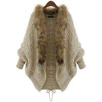 Fashion korean cardigan sweater with fur collar design winter women cardigan