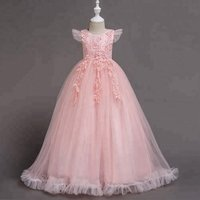 High quality children pink  wedding dress  Latest dress designs  flower dress for 10 years old    evening gown for  prom party