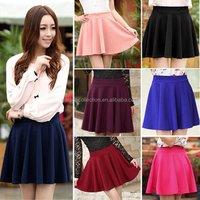2015Women Short Skirt Stretch Waist Plain Skater Flared Pleated Mini Skirt