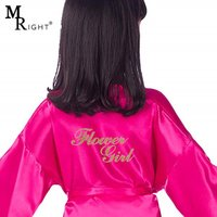 Childrens Solid Color Nightgown Satin Bathrobe Silk Wedding Flower Girls Kimono Robes with Gold Glitter