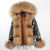 Womens Hooded fox fur coat real Parka Jacket Warm Coats Parkas Faux Fur Jackets racoon fur jacket