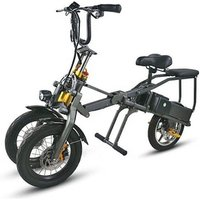 14 inch one button fast folding double battery fashion parent child Travel 3 wheels electric bicycle