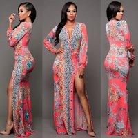 2017 new trend Womens V-neck Open Side Split Summer Beach Long Maxi Bodycon Dress