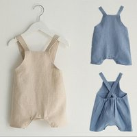 New summer childrens clothing, boys and girls, cotton and linen strap shorts baby rompers