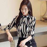 2019 New Spring Women Blouse Black Strips O-Neck Long Sleeve Women Office Tops Striped Blouse for Business