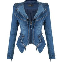 custom slim woman coat cowboy lady jacket shrug rivet zipper stitching motorcycle locomotive denim jacket women