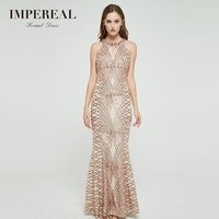 British style sequined gold mermaid sexy maxi gown dress