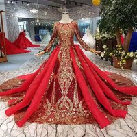 LS11281 custom luxury red party dress flower 3d lace fabric with beads new luxury elegant hot sale evening dresses