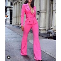 High Quality Pink V-neck Belt Long Sleeve 2 Pieces Set Fashion Evening Party Set