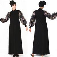 New design Lace sleeve dubai kaftan dress women turkish islamic clothing abaya muslim dresses