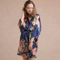 Wedding kimono satin silk femme floral bridal/bridesmaid robe