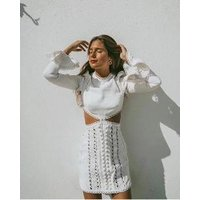 2019 wholesale ladies evening dress women sexy lace embroidery hollow out lace-up puffy sleeve A line mini skirt casual dress