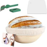 9inch Banneton Bread Proofing Basket Set-Brotform Rattan Basket with Cloth Liner,Dough Scraper,Bread Lame,Instruction