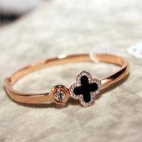 New desgin wholesale simple Four Leaf Clover rose gold bangle for girls