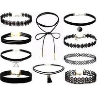 Popular choker necklace set 10 styles mixed black lace chocker necklace, black velvet leather choker 2018 LX029