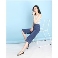 2019 High waist jeans women cropped trousers loose fashion Korean style casual wide leg straight pants