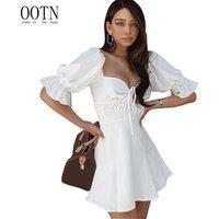 OOTN Female Vestidos Women Summer Mini Dress High Waist Short Butterfly Sleeve Sexy Sundress Square Collar White Tunic Dress