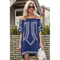 Factory Wholesale Geometric Print Off The Shoulder Bathing Suit Cover Up Beach Dress