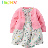 Wholesale baby bodysuit clothing set cotton cardigan bodysuit dress baby