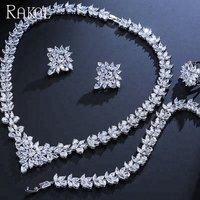 RAKOL Wedding Bridal CZ Necklace Earrings Bracelet Ring Set Crystal Cubic Zirconia Zircon Leaf 4 piece jewelry sets S313