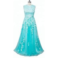 Sleeveless Green Lace Beaded Real Picture Evening Dresses