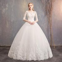 2019 Spring New Arrival Elegant Plus Size Three Quarter Sleeve Ivory Lace Flower Floor length Ball Gown Wedding Dress