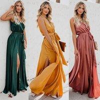 Wholesale multi solid color simple summer fashion casual sleeveless long maxi lady frock satin boho dress
