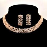 rhinestone choker necklace set silver zirconia pave necklace jewellery set costume choker jewelry