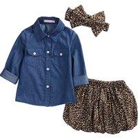 2018 3PCS Set Cute Baby Girls Clothes Summer Toddler Kids Denim Tops+Leopard Culotte Skirt Outfits Children Girl Clothing Set