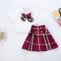 Kids Cloths School Uniform Design Girls Plaid Sets Of Skirt And Blouse