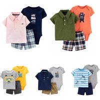 Wholesale Romper Baby Girl Boy Sports Shirts With Romper Summer Icing Pants
