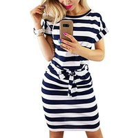 Womens Elegant Short Sleeve Work Office Casual Pencil Dress Women Dresses Lady With Belt