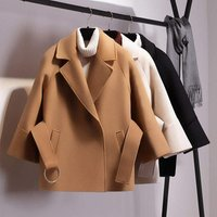 Women Short Woolen Coat Belt Jacket Female Autumn and Winter Cloak Coats