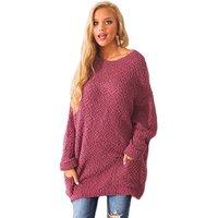 2019 New Design O-neck Women Winter Break Knit Tunic Lady Sweater