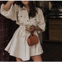 Vintage elegant women mini shirt dress Casual lantern sleeve short dress Turn down collar lace up linen female dresses